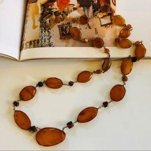 Orange Copper Natural Stone & Gold Long Necklace